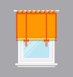 Modern window with orange jalousie isolated vector