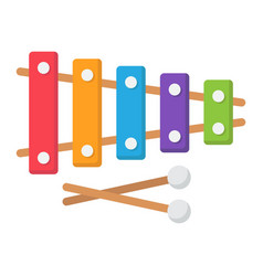 xylophone flat icon music and instrument vector image