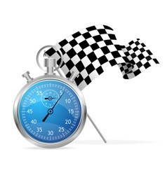 Blue stopwatch and flag vector image vector image