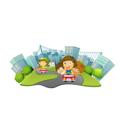 children riding cars in the city park vector image