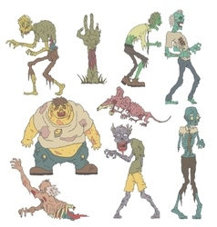 Creepy Zombies Outlined Drawings vector image