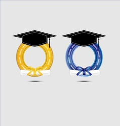 Graduating design with gold and blue vector image