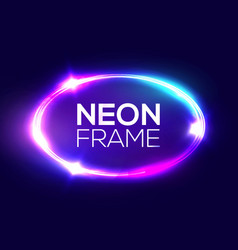 neon sign oval frame with light electric ellipse vector image