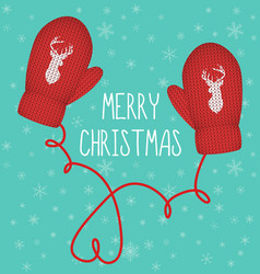 red knitted mittens with silhouette reindeer vector image vector image