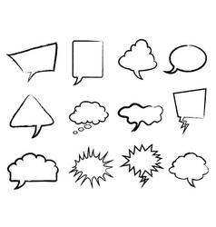Speech bubbles outline set vector image