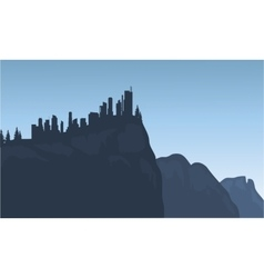 City silhouette on the cliff vector image