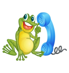 Frog with phone receiver vector image vector image