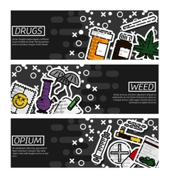 Set of Horizontal Banners about drugs vector image vector image