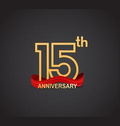 15 anniversary logotype design with line golden vector