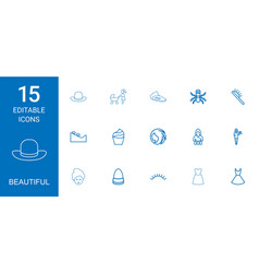 15 beautiful icons vector