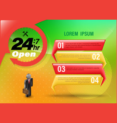 24 hr open banner vector image