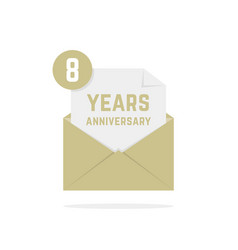 8 years anniversary icon missive in letter vector image