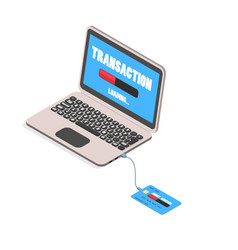 a credit card connected to a laptop to transfer mo vector image