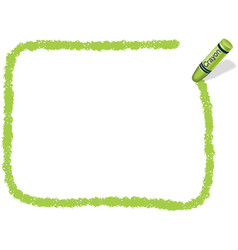 A yellow green square crayon message frame vector