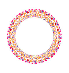 Abstract colorful geometrical floral round wreath vector