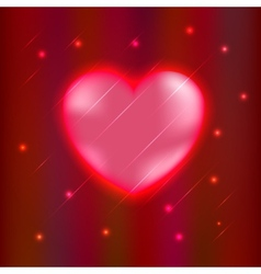 Abstract glow Heart isolated on red background vector image vector image