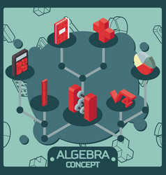 Algebra color isometric concept icons vector