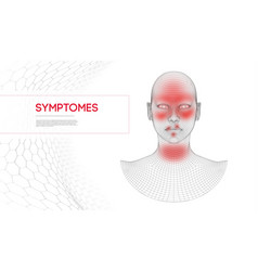 Allergy symtomes woman wireframe head vector