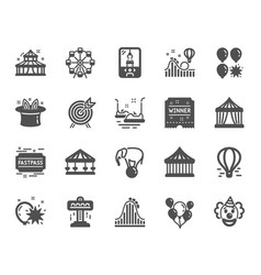Amusement park icons set of carousels roller vector