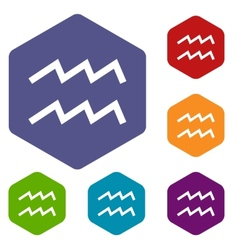 Aquarius rhombus icons vector image
