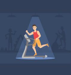 Athletic man running on treadmill guy doing sport vector