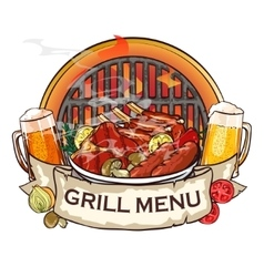 BBQ Grill label design vector