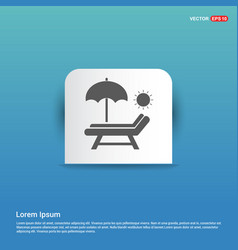 Beach umbrella and bed icon - blue sticker button vector