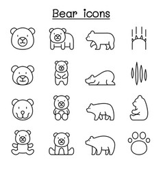 bear icon set in thin line style graphic design vector image
