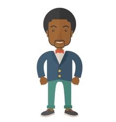 Black businessman standing straight vector