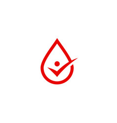 blood drop check logo icon sign vector image