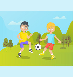 boys playing football on nature summer playground vector image