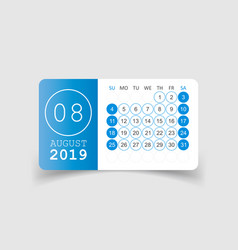 Calendar august 2019 year in paper sticker with vector