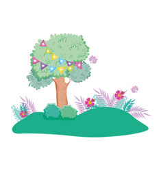 camp landscape with cute garden vector image