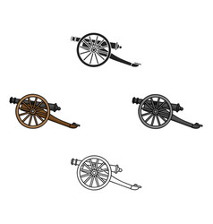 Cannon icon in cartoonblack style isolated on vector