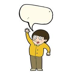 Cartoon man asking question with speech bubble vector