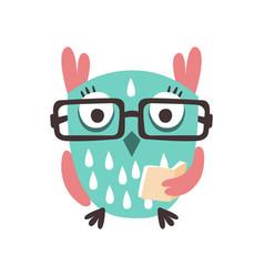 cartoon owl bird in eyeglasses holding a book vector image