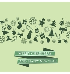Christmas card with Xmas decorations vector image