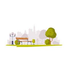 cityscape view with streetlight and bench vector image