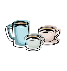 Coffee cup set colorful watercolor silhouette vector