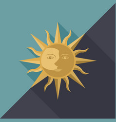 Combination of sun moon and star with face vector