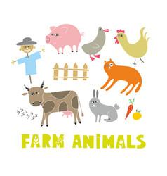 Creative set of doodle farm animals art vector
