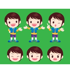 Cute boy actions vector