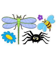 Cute insect collection vector