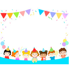 cute multicultural kids party template vector image