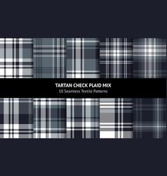Dark grey plaid pattern set vector
