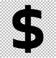 dollar sign isolated on transparent background vector image