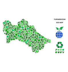 Ecology green collage turkmenistan map vector