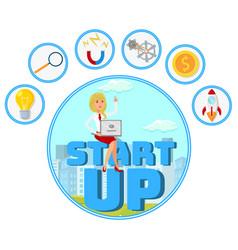 Entrepreneur with startup idea web banner vector