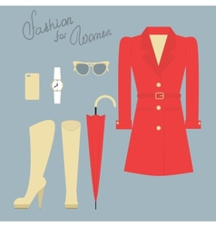fashion set elegant female clothes for autumn vector image