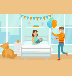 father visiting newborn bawith colorful vector image